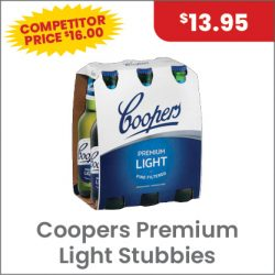Coopers Premium Light 6PACK $13.95 SUPER SPECIAL
