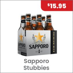 Sapporo Stubbies 6PACK $15.95
