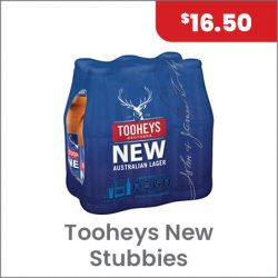 Tooheys New Stubbies 6PACK $16.50